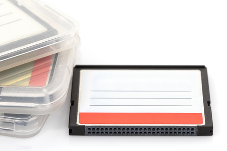 cf: Compact Flash memory cards (CF card) and case on white background