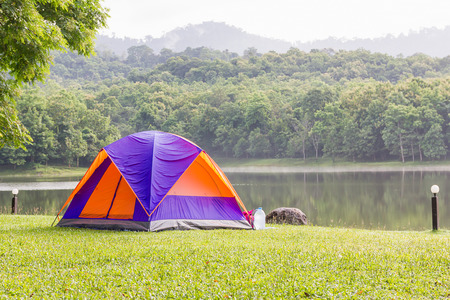 camping site: Dome tents camping of tourist in forest camping site
