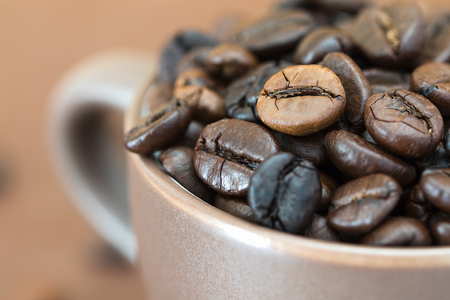 Close up  Roasted coffee beans  in coffee cup