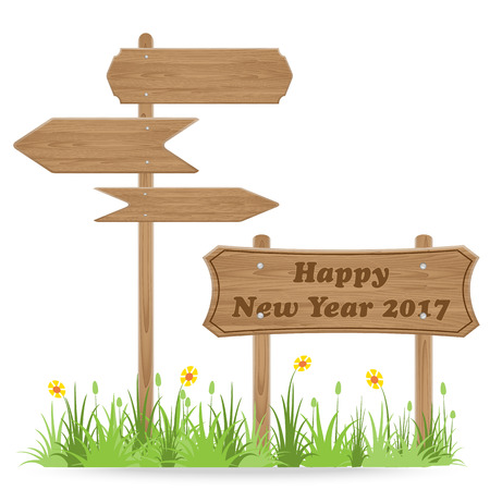 Happy New Year 2017 text on Wooden signpost with grass flower isolated on white. vector illustration Illustration
