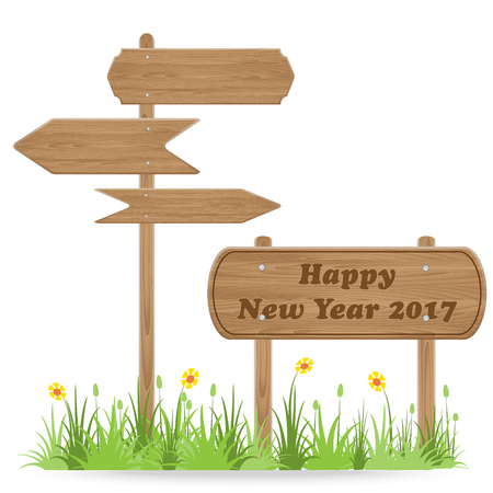guidepost: Happy New Year 2017 text on Wooden signpost with grass flower isolated on white. vector illustration Illustration