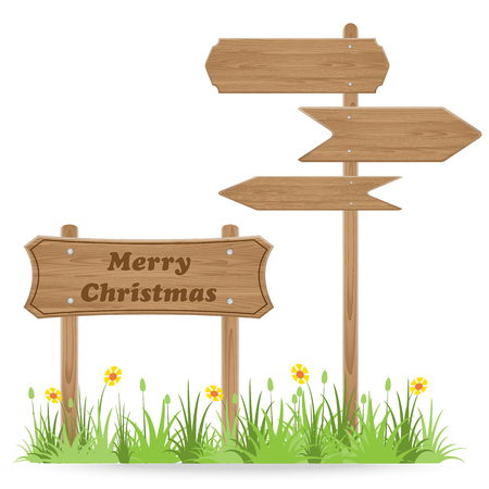 outdoor blank billboard: Merry Christmas text on Wooden signpost with grass flower isolated on white. vector illustration