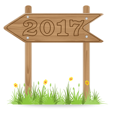 Number 2017 on Wooden signpost with grass flower isolated on white. New Year 2017 concept ,vector illustration Illustration