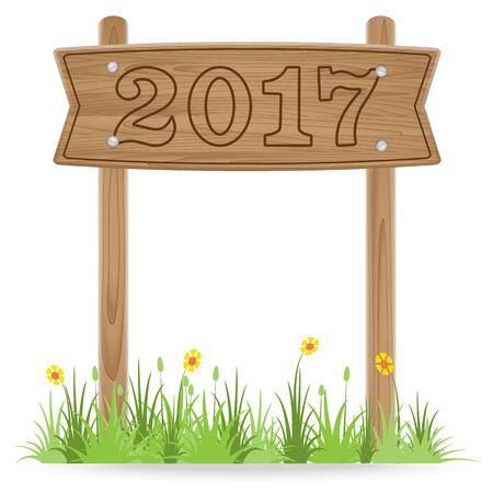 outdoor blank billboard: Number 2017 on Wooden signpost with grass flower isolated on white. New Year 2017 concept ,vector illustration Illustration