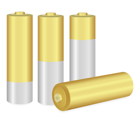durability: Gold and Metallic AA batteries over white background,Vector  illustration Illustration
