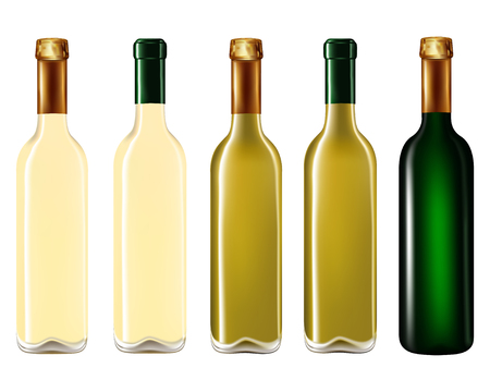 close up food: Wine bottles in row isolated on white background,Vector illustration Illustration