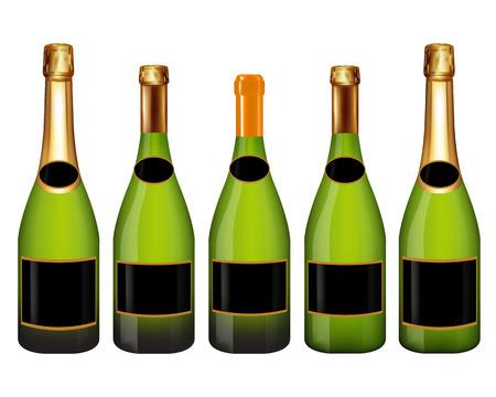 Set of champagne bottle isolated on white background,Vector illustration