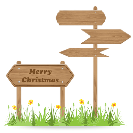 Merry Christmas text on Wooden signpost with grass flower isolated on white. vector illustration