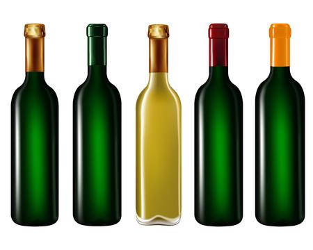 Wine bottles in row isolated on white background,Vector illustration Illustration