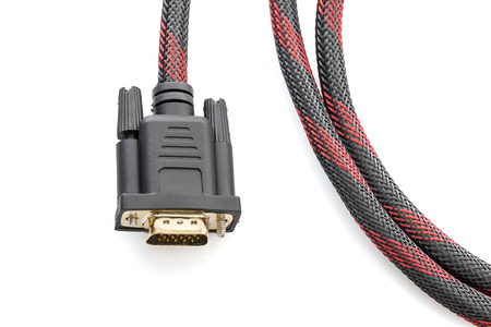 hdmi: Close up HDMI cable and VGA cable connector on white background Stock Photo