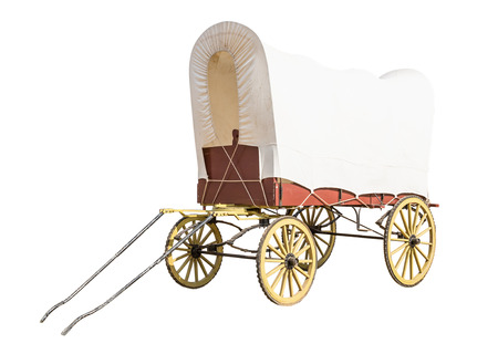 Covered wagon with white top isolate on white background Stock Photo