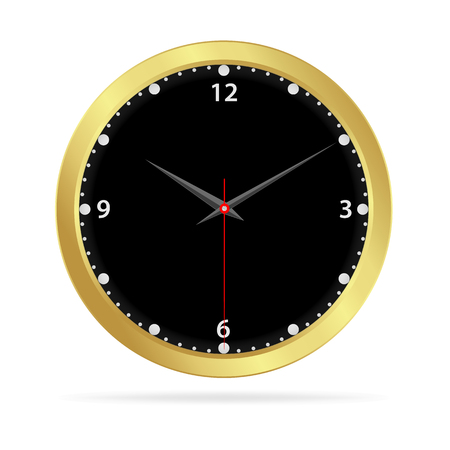 black wall: Gold watch with black face isolated on white background, Vector illustration