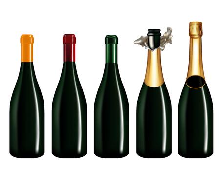 Insieme della bottiglia di Champagne isolato su sfondo bianco, illustrazione vettoriale