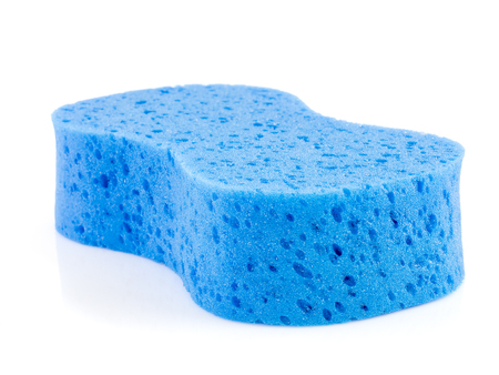 Blue sponge for car washing on white background