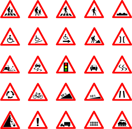 Vector illustration of triangle red and white road signs collection Illustration