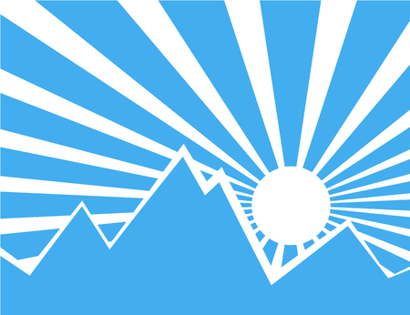 Sun rays with blue and white retro color behind the mountain,Vector illustration