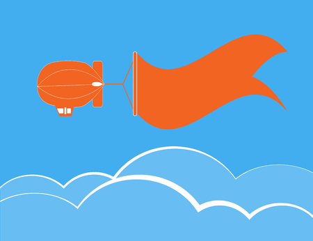 Dirigible flying and banner for text over cloud and blue sky,vecter illustration