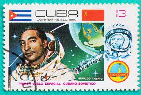 SARABURI, THAILAND-JUNE 04,2017: Used Postage stamps with printed in the Cuba shows cosmonaut Arnaldo Tamayo Mendez, circa 1980