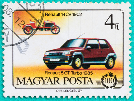 SARABURI, THAILAND-JUNE 04,2017: Postage stamps had been printed in Hungary (Magyar Posta),shows Renault 5 GT Turbo car,circa 1985