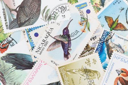 SARABURI, THAILAND-JUNE 01,2017: Used Postage stamps with a bird theme ,shows image of Bird, circa 1987