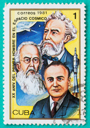SARABURI, THAILAND-JUNE 04,2017: Used Postage stamps with printed in the Cuba shows Jules Verne, Konstantin E. Tsiolkovski and Sergei P. Korolev, circa 1981