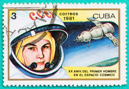 tereshkova: SARABURI, THAILAND-JUNE 04,2017: Used Postage stamps with printed in the Cuba shows Valentina Tereshkova, 1st Woman in Space ,circa 1981