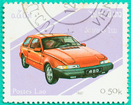 SARABURI, THAILAND-JUNE 04,2017: Used Postage stamps with printed in Laos shows Toyota 480,circa 1987