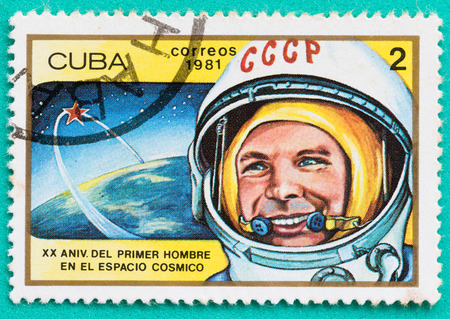 SARABURI, THAILAND-JUNE 04,2017: Used Postage stamps with printed in the Cuba shows cosmonaut Yuri Gagarin, circa 1981 Редакционное