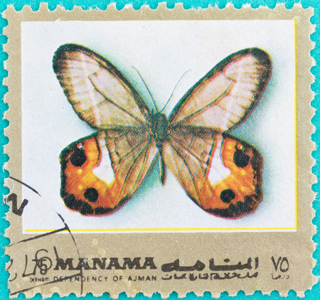 SARABURI, THAILAND-JUNE 01,2017: Postage stamps had been printed in United Arab Emirates shows image of a Butterfly, circa 1986 Editöryel