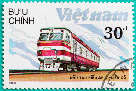 postmail: SARABURI, THAILAND-JUNE 04,2017: Used Postage stamps with printed in Vietnam shows The railway ,diesel locomotive train, circa 1984 Editorial