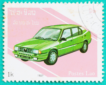 SARABURI, THAILAND-JUNE 04,2017: Used Postage stamps with printed in Laos shows Alfa Romeo 33,circa 1987