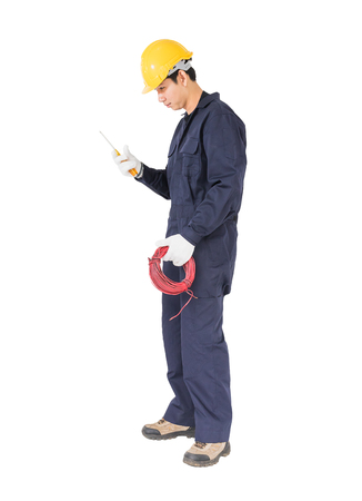 Electrician in unifrom with bunch of wires , isolated on white background cutout