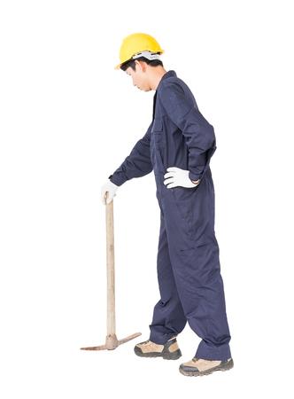 Jeune homme, dans, uniforme, vieux, pick, pic, qui, appareil minier