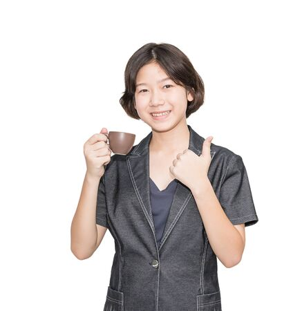 Young female short hair holding up coffee cup, Cut out isolated on white background photo