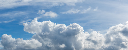 atmosphere: Panorama white fluffy clouds in the blue sky, Fantastic soft white clouds against blue sky