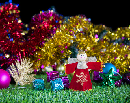 Merry Christmas and Happy New year,Holiday decoration on green grass