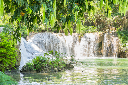 Waterfall in a forest on the mountain in tropical forest at Waterfall Chet Sao Noi in National park Saraburi province, Thailand