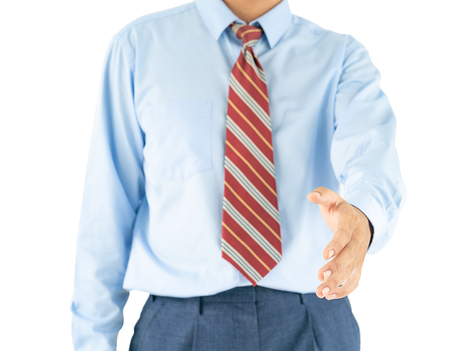 Close up, Male wearing blue shirt and red tie reaching hand out