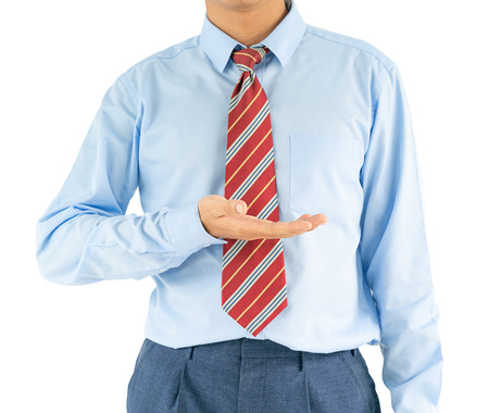 Close up, Male wearing blue shirt and red tie reaching hand out with clipping path