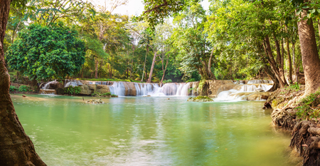 Panorama Waterfall in a forest on the mountain in tropical forest at Waterfall Chet Sao Noi in National park Saraburi province, Thailand Stock Photo