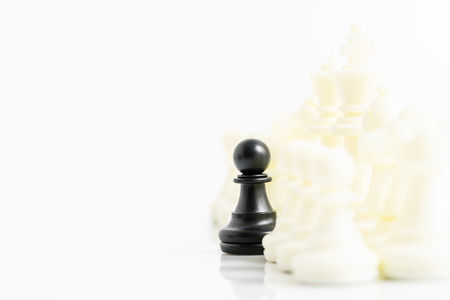 Close up Set of black and white chess pieces on chessboard, Set of chess figures on white background Banco de Imagens