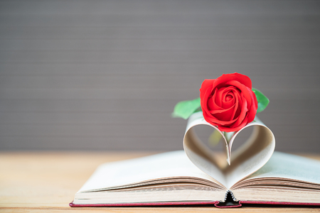 Pages of book curved into a heart shape and red rose,Love concept of heart shape from book pages