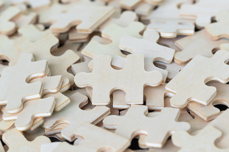 Close up shot of wood jigsaw puzzel background