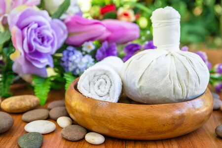Thai Spa massage setting with thai herbal compress balls Stock Photo