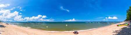 Beautiful 180 degree panorama beautiful beach Pattaya Thailand with blue sky and cloud on a sunny day