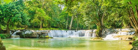 Panorama Waterfall in forest on the mountain in tropical forest at Chet Sao Noi in National park Saraburi province, Thailand