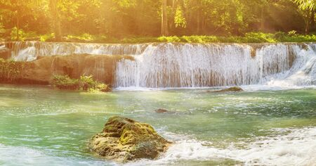 Panorama Waterfall in tropical forest at Waterfall Chet Sao Noi in National park Saraburi province, Thailand