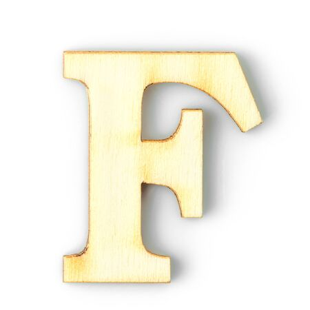 Wooden Alphabet study english letter with drop shadow on white background,F