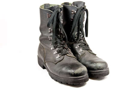 army boots: Picture of some old used army boots Stock Photo
