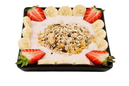 musli: healthy musli breakfast with strawberries and bananas